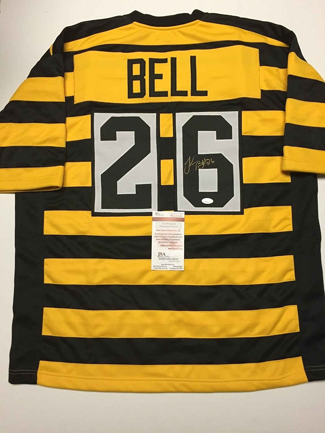 Autographed/Signed Le'Veon LeVeon Bell Pittsburgh Steelers Bumble Bee Jersey JSA COA