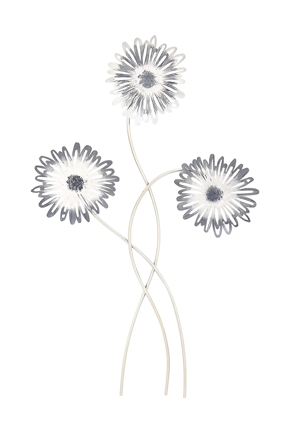 Deco 79 22637 Flower Metal Wall Decor 12 x 32 Black//Brass//Silver Set of 2