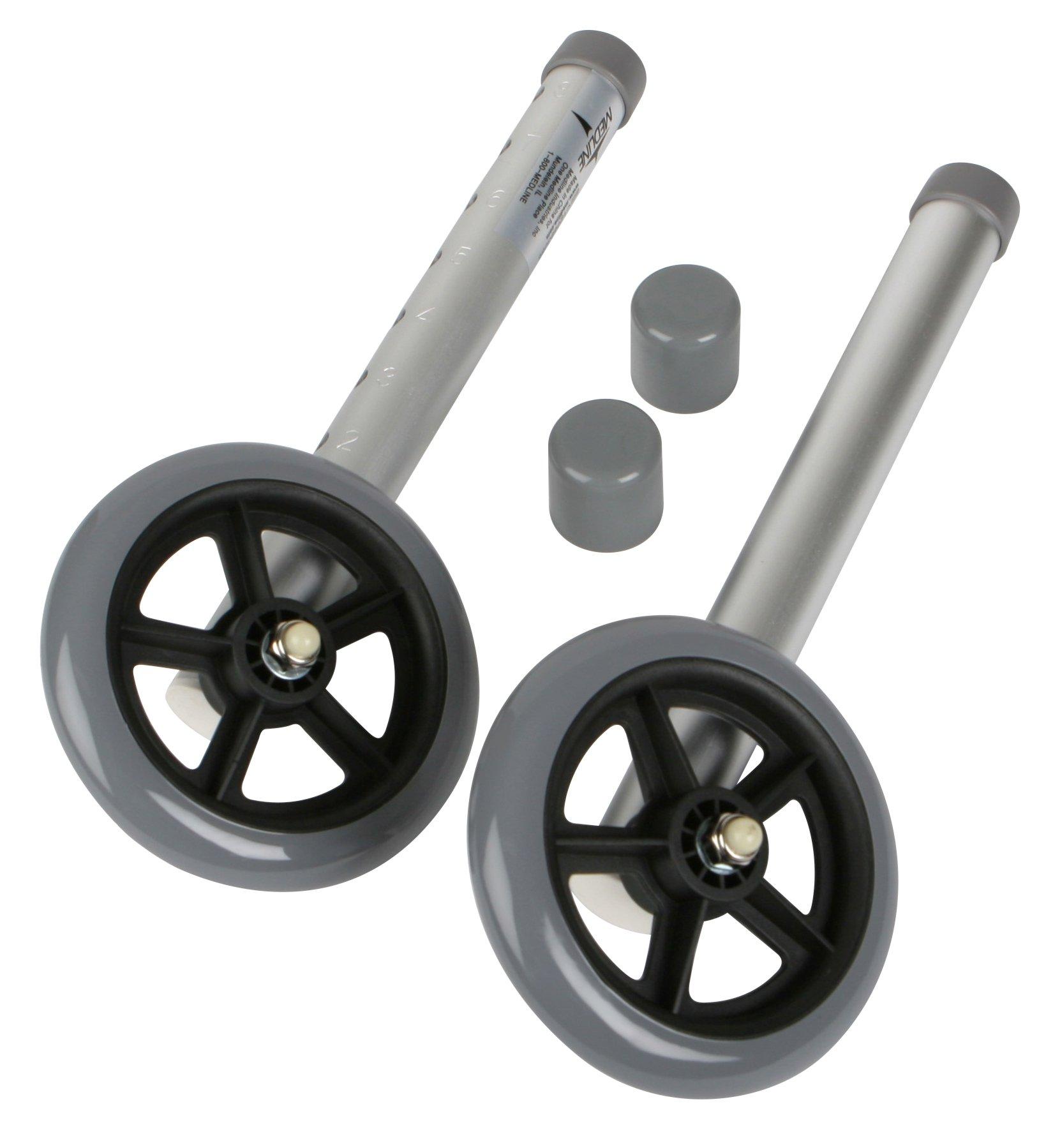 Medline 5'' Walker Wheels for 2 Button Walker