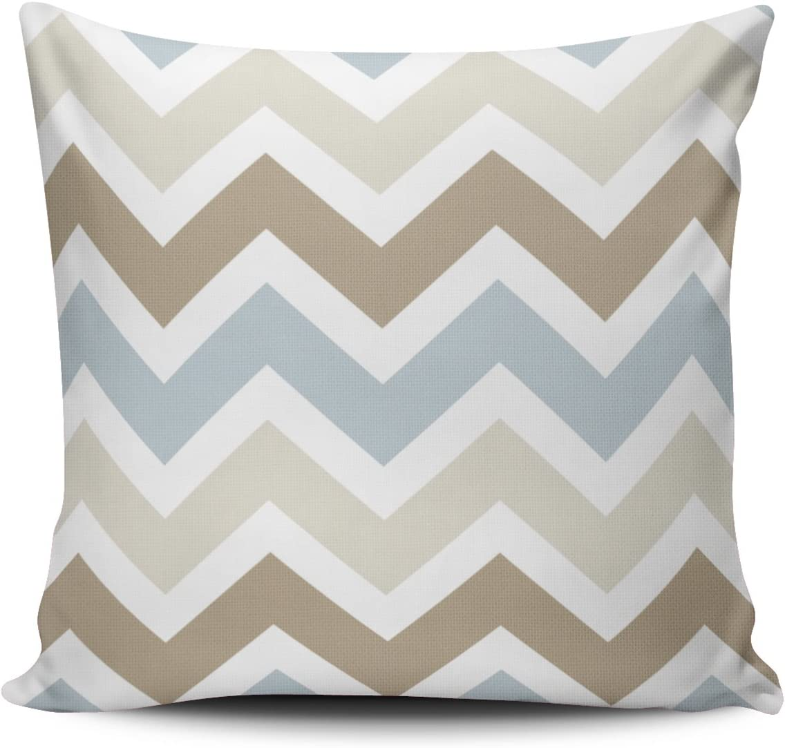 Fanaing White Blue Gray Tan and Brown Chevron Pillowcase Home Sofa Decorative 16X16 Inch Square Throw Pillow Case Decor Cushion Covers One-Side Printed