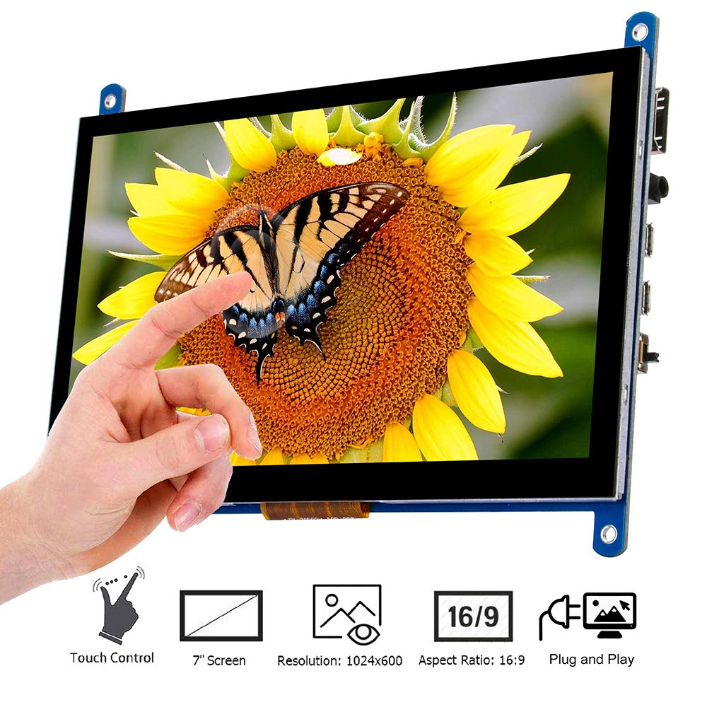 7 Inch Touch Screen TFT LCD Display HD 1024x600 Driver Free for Raspberry Pi,Computer,TV Box,DVR,Game Device (7'' Touch Screen)