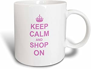 3dRose mug_157769_1 Keep Calm and Shop on Carry on Shopping Shopper Shopaholic Gifts Pink Fun Funny Humor Humorous Ceramic Mug, 11-Ounce