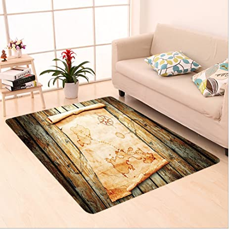 Nalahome Custom Carpet Ecor Treasure Map On Rustic Timber X Marks The Spot Of Gold Nautical