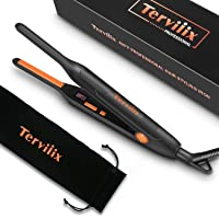Terviiix Small Flat Iron for Short Hair, Temperature Adjustable Mini Hair Straightener Fast Heat Up, 3/10 Inch Beard Straightening Iron Dual Voltage with Tourmaline Ceramic Plates, Auto Shut Off