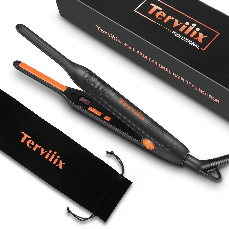 Terviiix Pencil Flat Iron for Short Hair, Pixie Hair Straightener Temperature Adjustable Fast Heat Up, 3 10 Inch Beard Straightening Iron Dual Voltage with Tourmaline Ceramic Plates, Auto Shut Off
