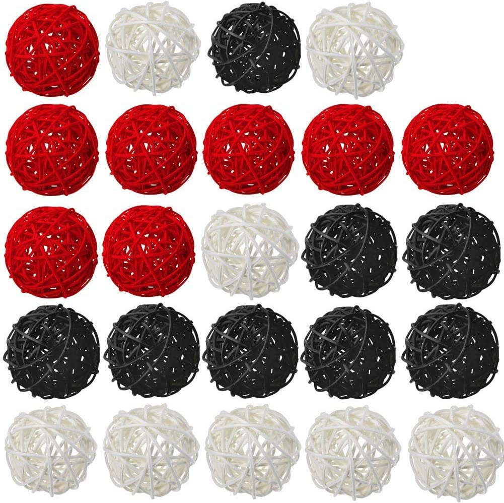 Amazon Com White Red Black Rattan Balls Decorative 24 Pack Wicker For Home Decor Aromatherapy Accessories Wedding Decoration Baby Shower Table 2 Inch Kitchen