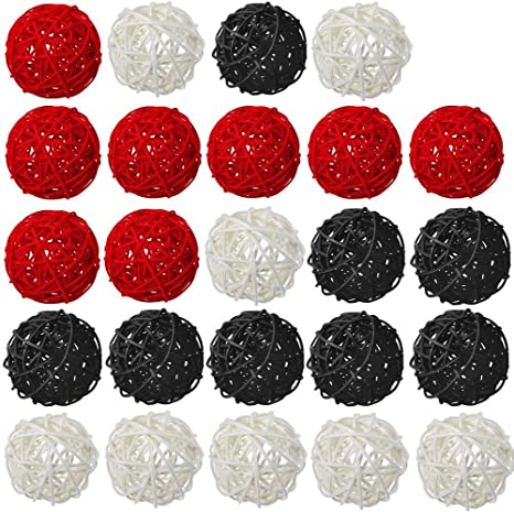 Vase Filler Wedding Party Decoration Garden Hanging Decoration 15 Pcs White Red Black Wicker Rattan Balls Table Wedding Party Christmas Decoration Decorative Balls for Bowls Coffee Table Decor