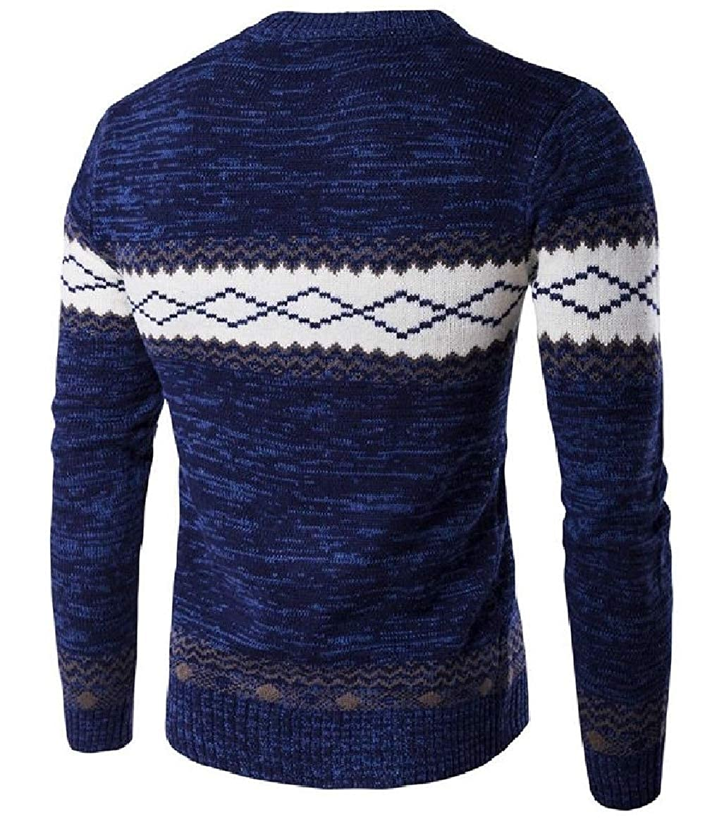 RomantcMen Thick Keep Warm Geometric Knitting Trible Pullover Sweaters