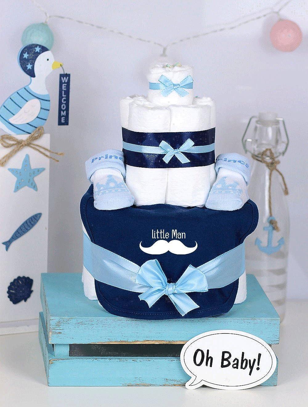 Trend Mama Windeltorte hellblau-blau Junge L/ätzchen Babysocken Little Man
