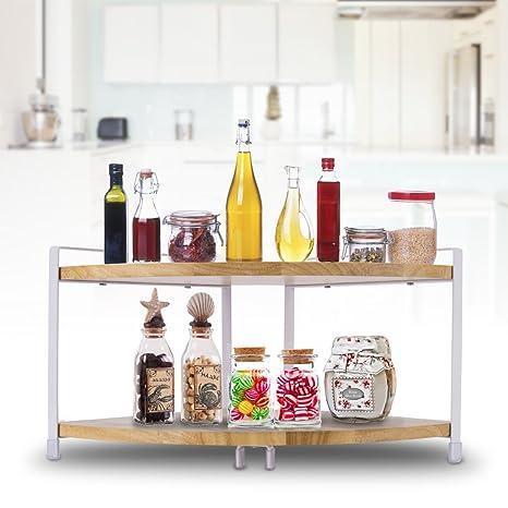 Bon Spice Rack Organizer, Dual Layer Kitchen Corner Shelf Spice Racks Kitchen Cabinet  Spice Rack Organizer