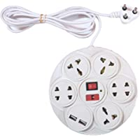 Black Apple Plastic 7+1 Socket Round Extension Board with 2 USB Ports Fuse and LED 3 Yards Long Wire (White)