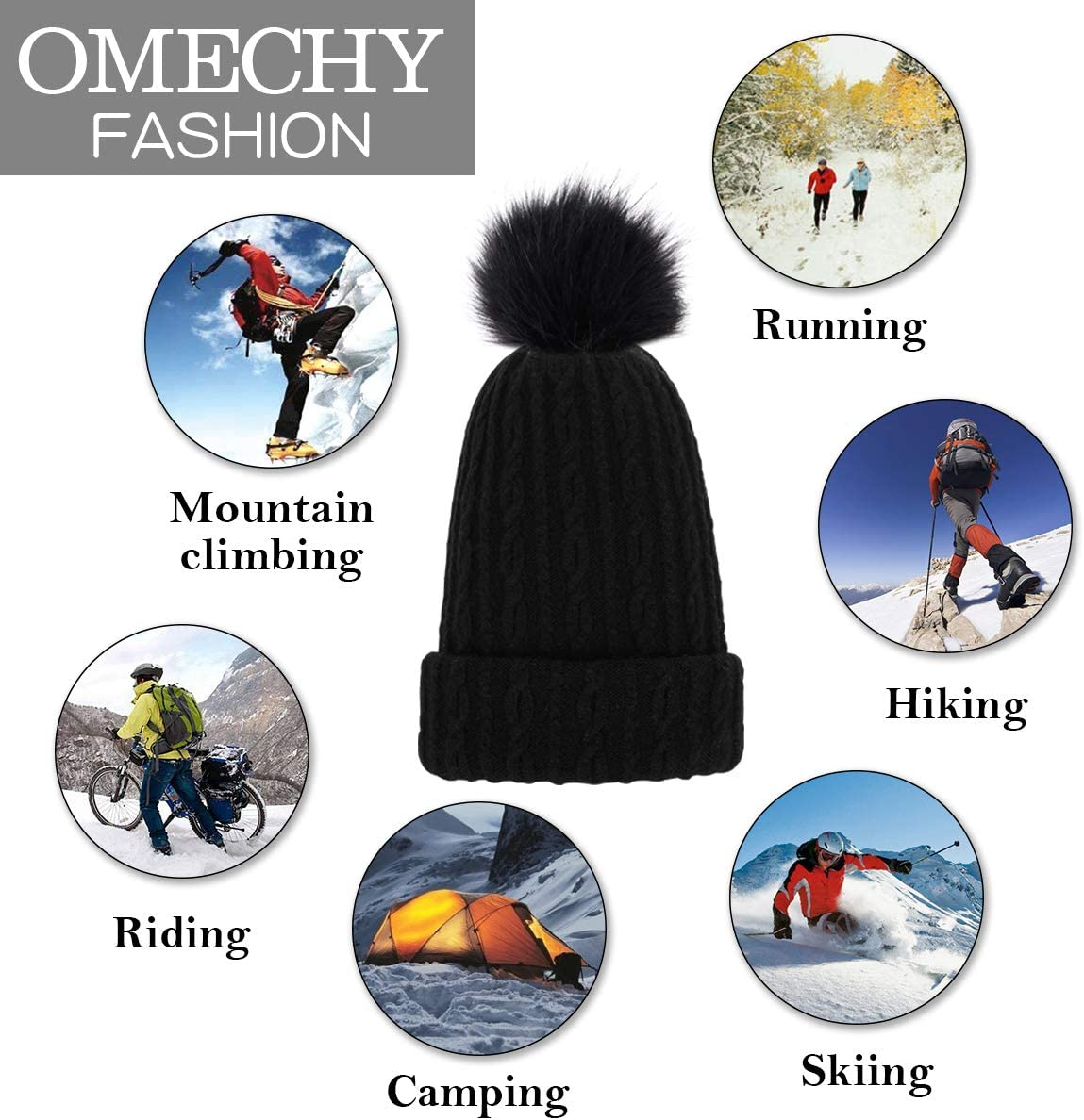 OMECHY Womens Winter Knit Hat Trendy Slouchy Beanie with Warm Fleece Lining Skull Chunky Soft Thick Cable Ski Cap in 5 Color