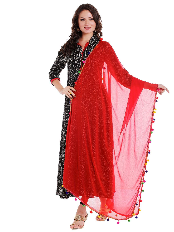 Dupatta Bazaar Woman's Red Chiffon Dupatta with Multicoloured Pompom
