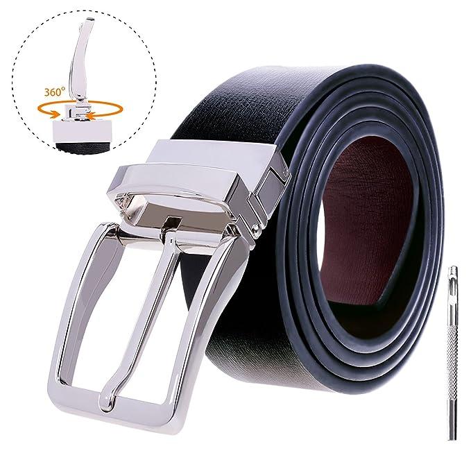 ... Hombres Cinturón de Piel Cuero Correa Cinturones Girar Hebilla de  pasador con Cinturón Perforador Diseñado para Caballero  Amazon.es  Ropa y  accesorios 199e4c57a810