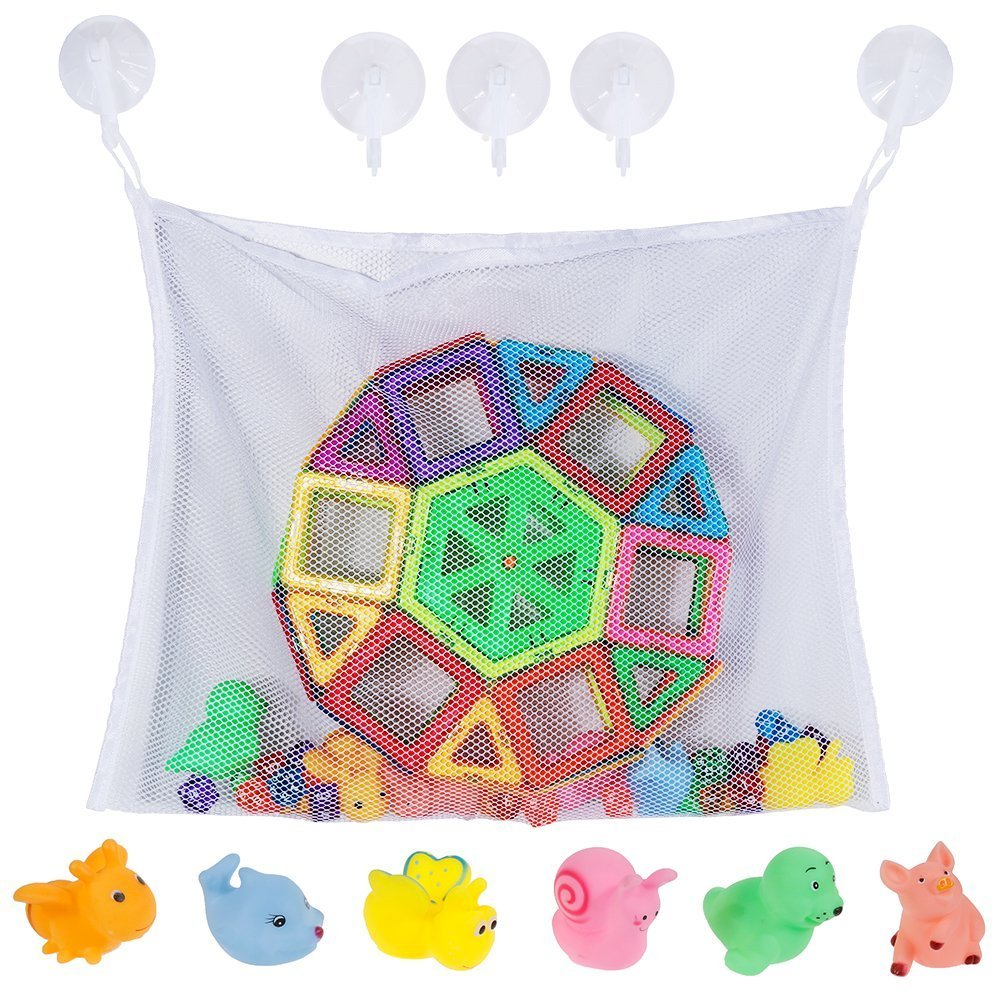 Rovtop Baby Kids Bath Toy Storage Shower Organiser Set Toddlers Large Mesh Bath Toy Net Bag for Boys and Girls with 5 Heavy Duty Lock Suction Cups and 6 Bath Toys