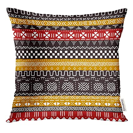 Amazoncom Golee Throw Pillow Cover Brown Cloth Black Red Yellow