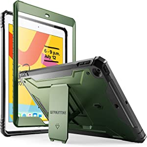 Poetic Revolution Series Case for iPad 10.2 7th Generation 2019 / 8th Generation 2020 Case, Full-Body Rugged Shockproof Protective Cover with Kickstand and Built-in-Screen Protector, Metallic Green