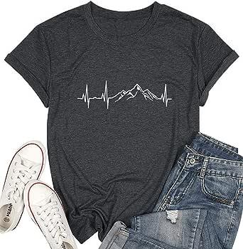 Mountain Heartbeat Graphic T-Shirts Women Novelty Hiking Shirt Casual Camping Travel Tee Tops