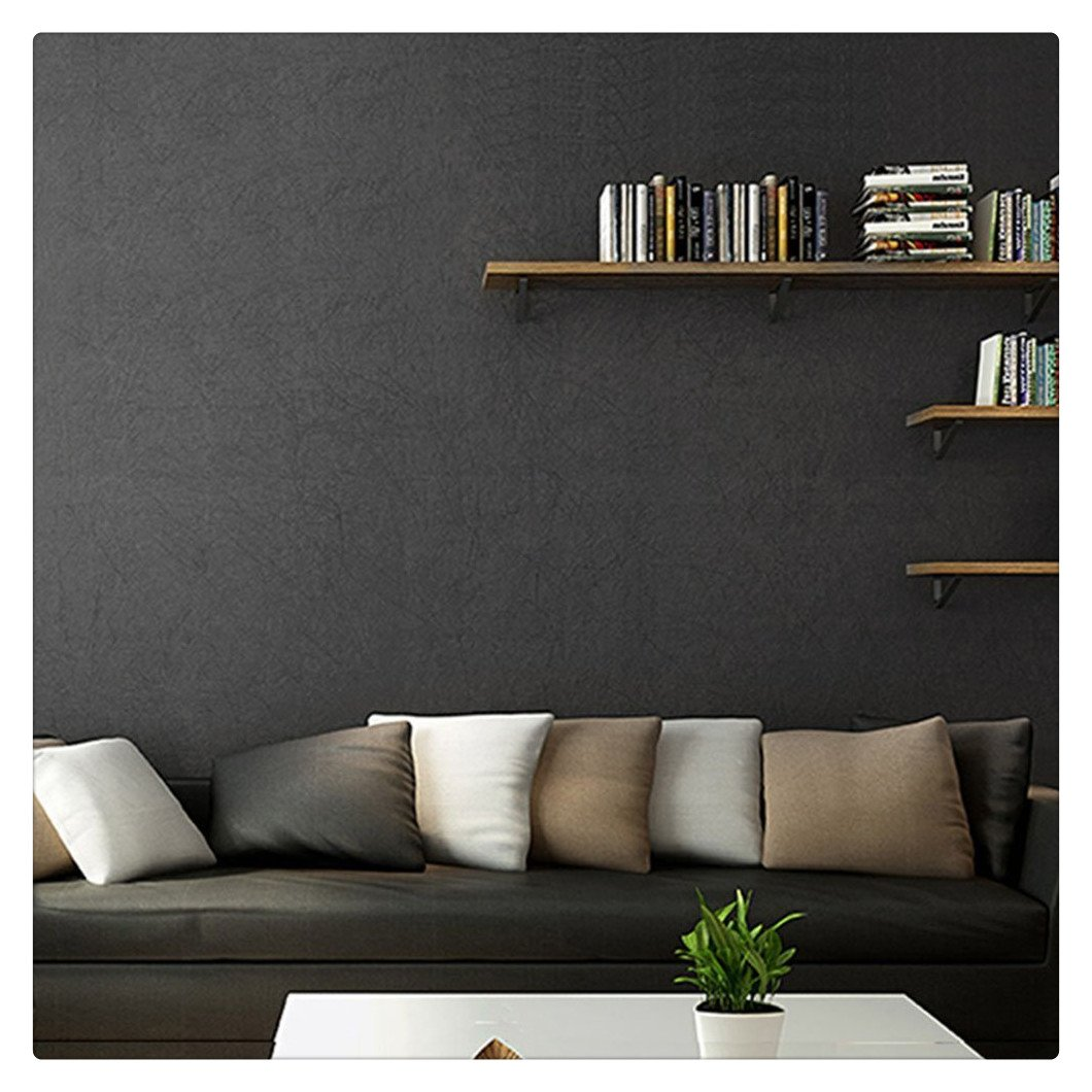 HaokHome 3024 Non Woven Silk Black Wallpaper Fiber Textured Wall Paper for  Home Bedroom Kitchen Bathroom Wall Decoration 20.8\