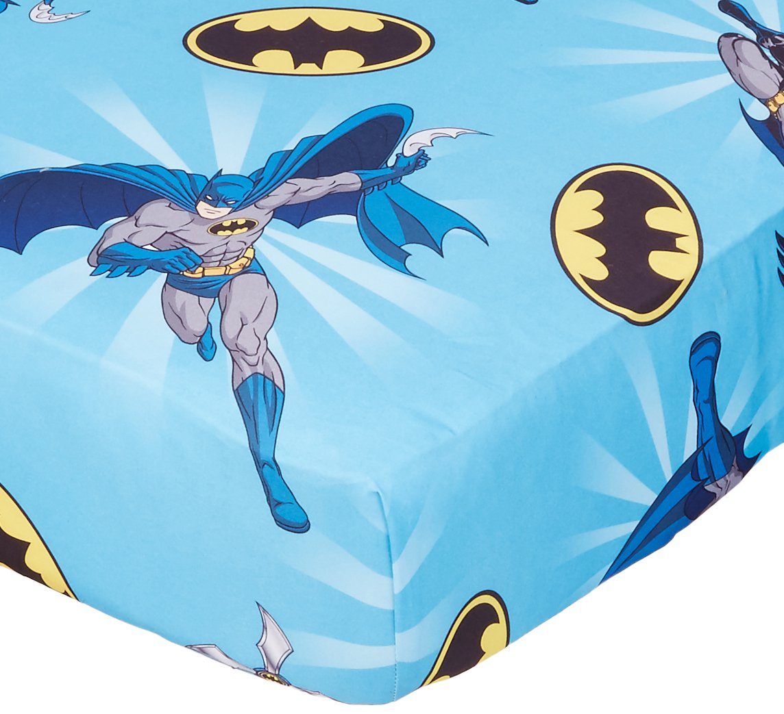 Batman  on blue   cotton    crib//toddler fitted sheet