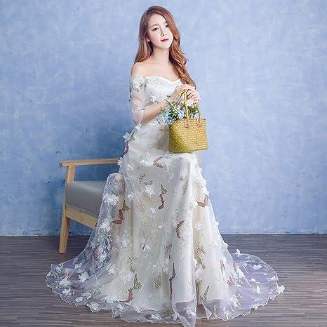 JJK Primavera Y Verano Vestido de Moda Vestido de Dama de Honor Largo Párrafo Boda Flor Hada Vestido de Banquete Vestido de Banquete,Segundo,L: Amazon.es: ...