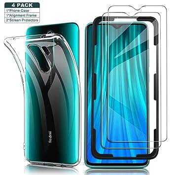 Yocktec Funda + Cristal Templado para Xiaomi Redmi Note 8 Pro, Funda Carcasa de Gel Ultrafina y Suave de TPU con Vidrio Protector de Pantalla para ...
