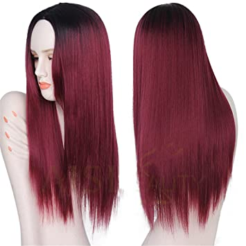 Amazoncom Grey Red Pink Ombre Black Wig Synthetic Wigs For