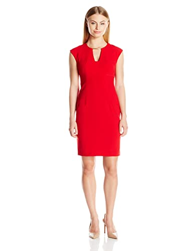Calvin Klein Women's Petite Ptite Cap Sleeve Sheath Dress with Netal Trim AT Neckline