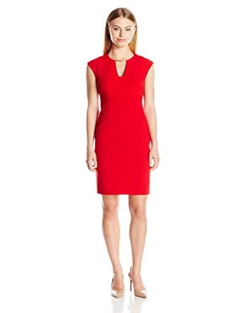 85312f00 Calvin Klein Women's Petite Ptite Cap Sleeve Sheath Dress with Netal Trim  at Neckline, Red, 4P at Amazon Women's Clothing store: