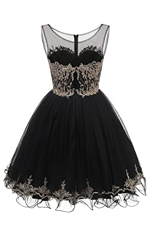 Huifany Short Homecoming Dresses Beaded Prom Evening Cocktail Party Dress with Gold Lace