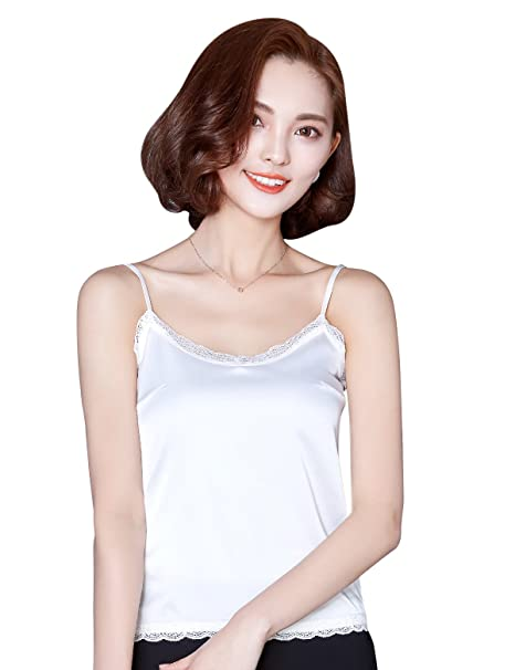 506828864d Alizeal Silk-Feeling Camisole with Adjustable Straps Lace Vest Tops for  Women-White