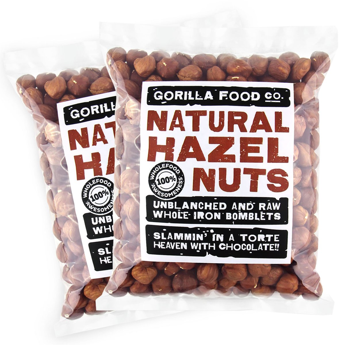 Gorilla Food Co. Hazelnuts (Filberts) Raw Whole - 2 Packs (1 Pound each) Resealable Bags