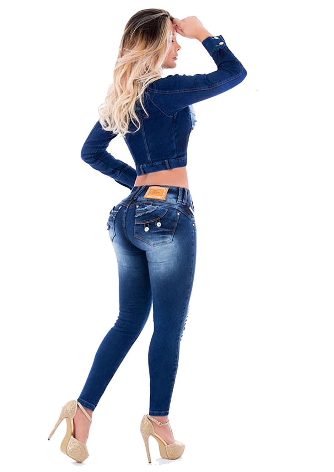Jeans + Jacket Set Two Pieces Womens Ripped Super Pus Up Jeans Skinny Jeans Slim Denim Distressed Pants at Amazon Womens Clothing store: