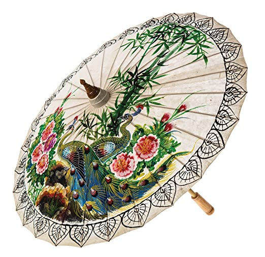 Vintage Style Parasols and Umbrellas Luna Bazaar Hand-painted Peacock Mulberry Paper Parasol (34-Inch 26-Inch handle) $36.95 AT vintagedancer.com