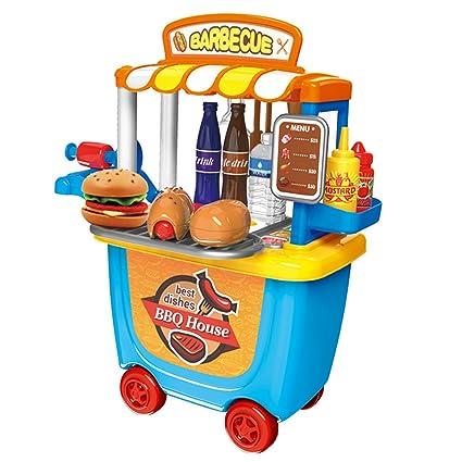 Gosear Cute Colorful Kids Simulation Barbecue Ice Cream Shop Dresser Cart Pretend Toy Set Playset Role