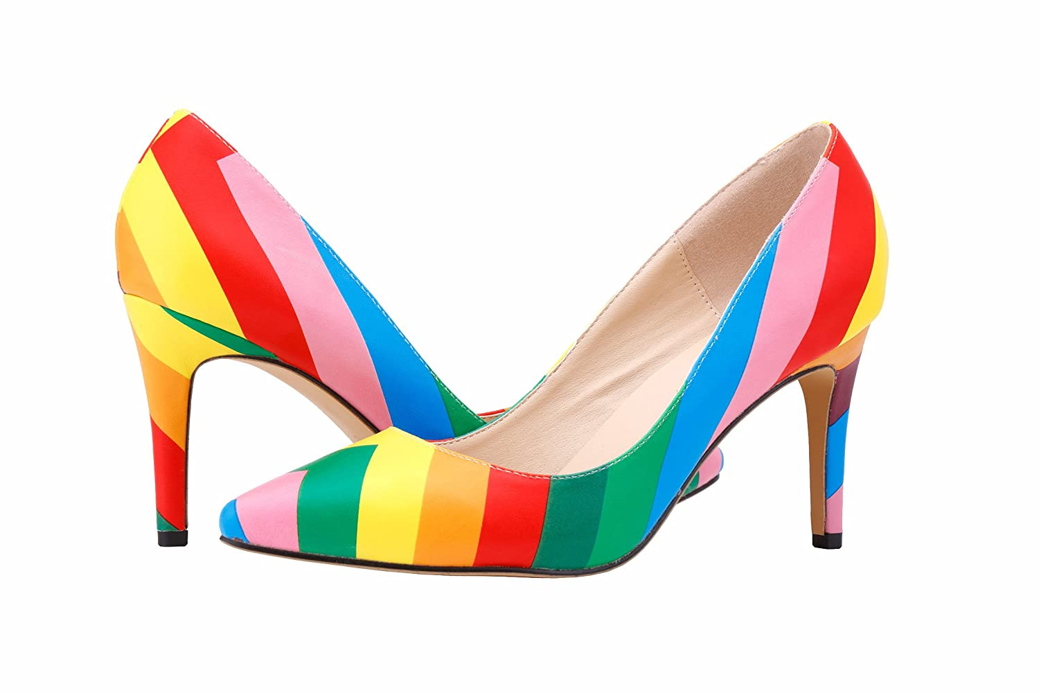 YAOYUE Rainbow Color Pointed Toe Mid Kitten Heels Dress Court Shoes Wedding  Office Shoes PU Upper For Women Laydies: Amazon.co.uk: Shoes & Bags