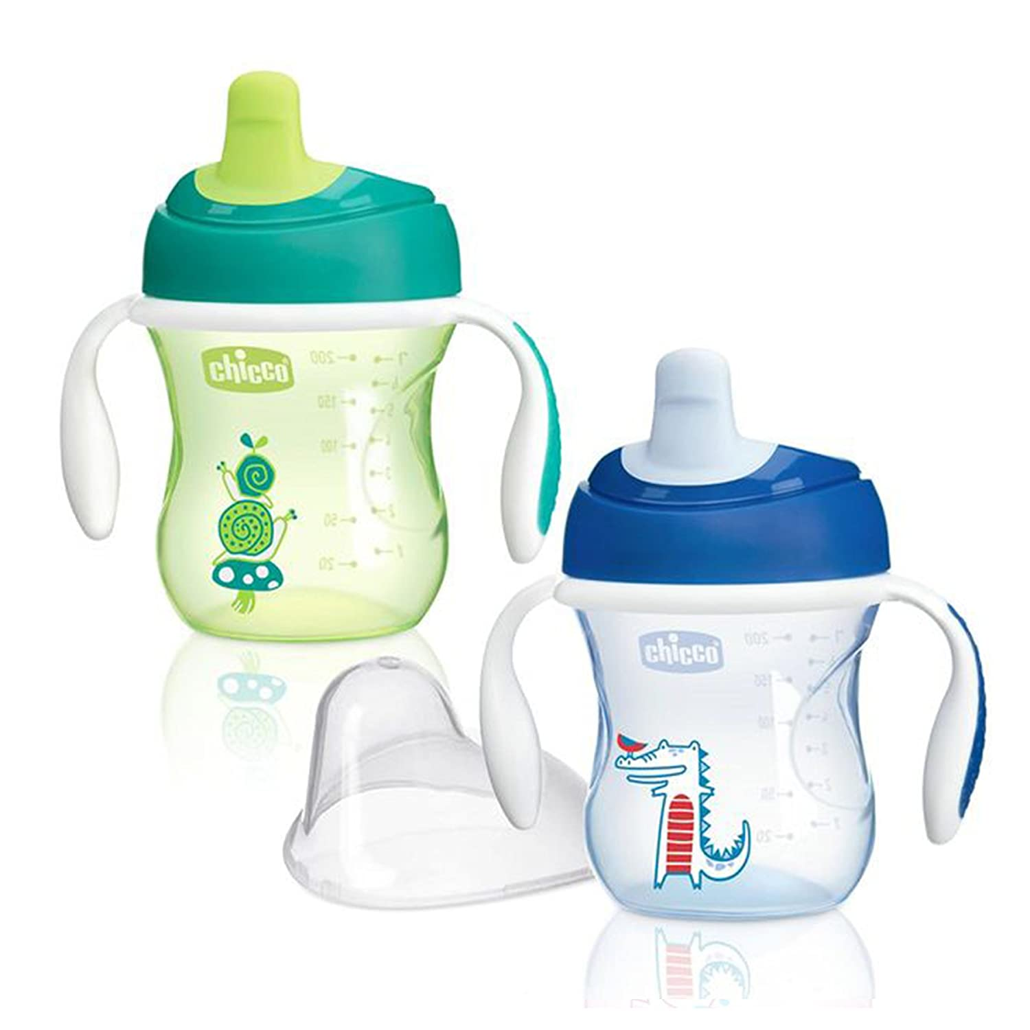 Chicco NaturalFit Semi Soft Spout Trainer Sippy Cup, in Assorted Colors, 7 Ounce, 2 Count 00006922210070