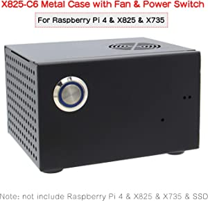 Geekworm Raspberry Pi 4 X825 Metal Case+Power Switch+Cooling Fan, Honeycomb Chassis Support X825 2.5 inch SATA SSD/HDD Shield & Raspberry Pi 4 Model B & X735