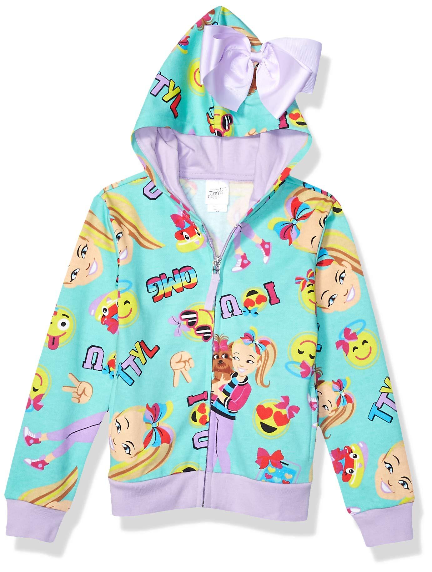 JoJo Siwa Women's Little Girls' Emoji Characters Zip Up Hoodie with Bow on Hood