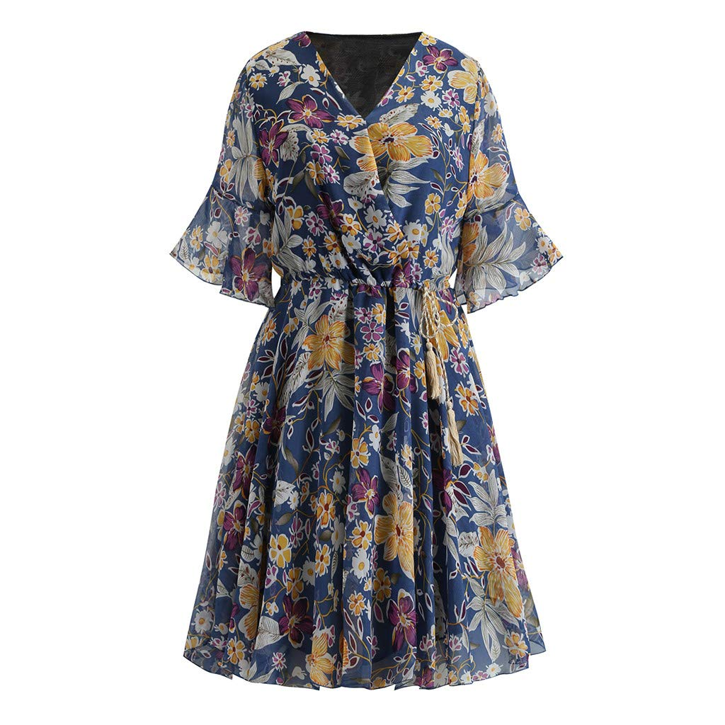 Giulot Plus Size Elegant Strapless 3/4 Sleeve Cocktail Party Dress Vintage Floral Print Pleated Midi Dress for Women Dark Blue by Giulot