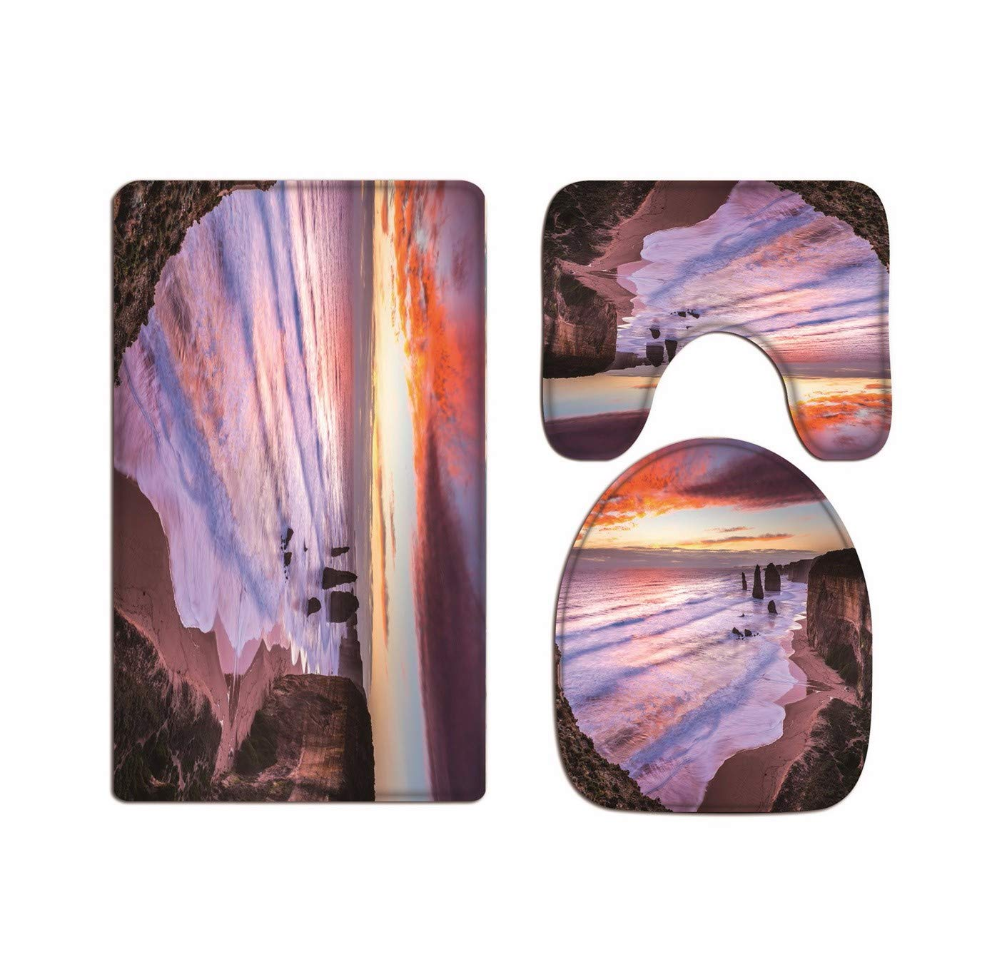 A.Monamour Big Storm Blue Sea Ocean Wave Nature Scenery Picture Art Print Soft Flannel Cloth Washable Toilet Seat Covers Toilet Lid Covers Cushions Pads Skidproof Bath Mat Rug For Toilet Accessories