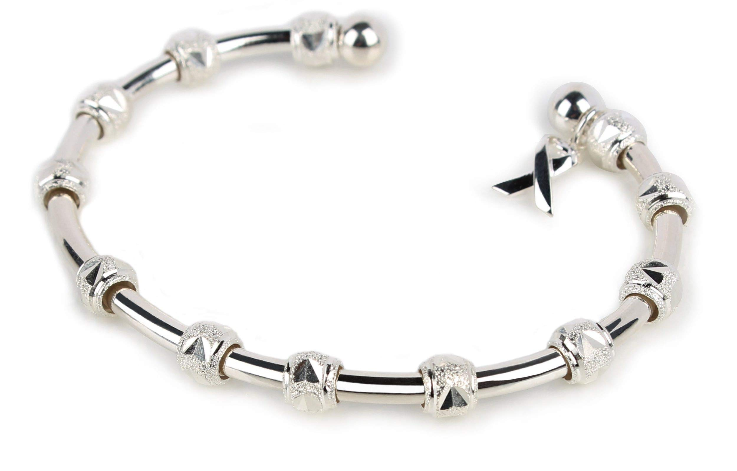 Tennis Bracelet with Movable Beads to Track Points, Games and Sets - Sterling Silver Plated with Cause Ribbon Charm