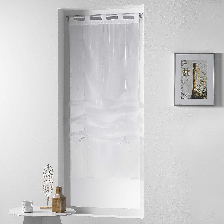 Poliestere 180/x 60/cm Bianco Douceur d interno Store diritto a passanti Voile Graffia orizzonte