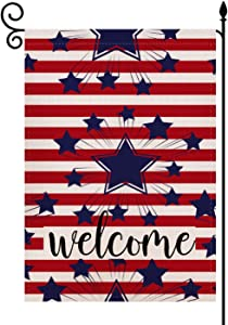 Welcome American US Star Garden Flag Vertical Double Sided 12.5 x 18 Inch, 4th of July Farmhouse Burlap for Spring Summer Outdoor Indoor Decoration
