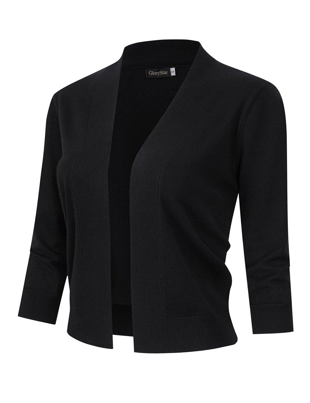 GloryStar Women's 3/4 Sleeve Open Front Lightweight Knit Cropped Cardigan Sweater Black XL