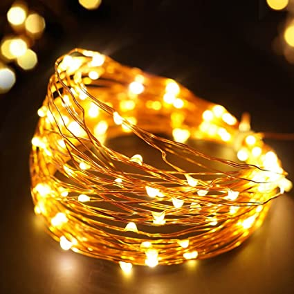 bright zeal 33 ft warm white led plug in string lights copper wire