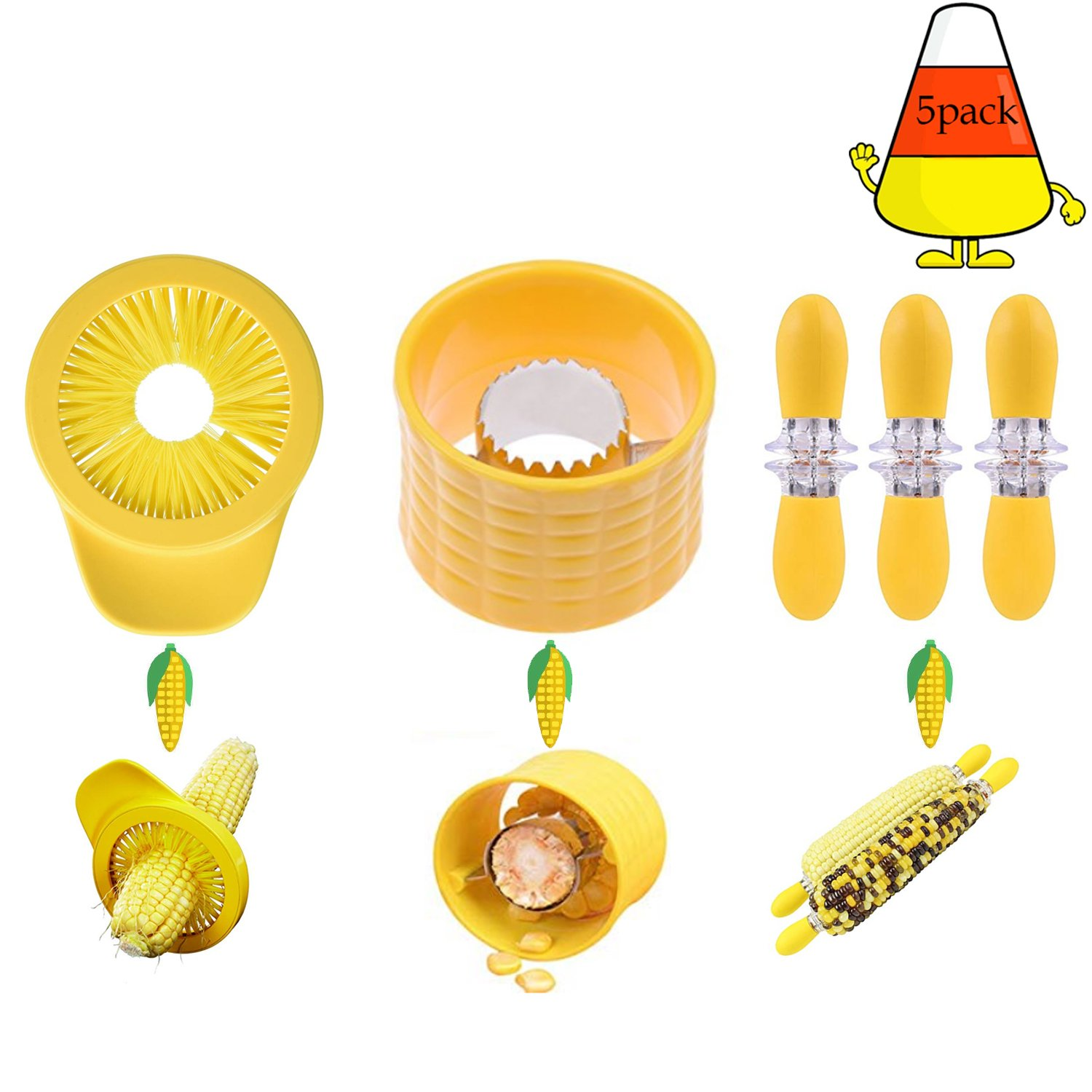 Corn Stripper Kerneler Peeler Kitchen Tools Set of 5 Cob Corn Stripper x1 Corn Desilker x1 Corn Cob Holders x3 Perfect for Home Cooking and BBQ by Derong Kitc (Image #2)