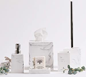 Kurrajong Farmhouse Elegant 5 Piece Bathroom Accessories Set, Marble Pattern Poly Resin Smooth Finish, Tissue Box Cover, Toilet Brush and Holder, Toothbrush Holder, soap Dish, Liquid soap Dispenser.