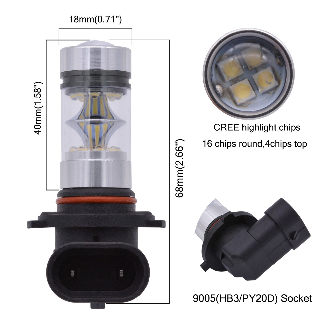 2-Pack KaTur 1800 Lumens Extremely Bright 100W High Power 2828 20SMD CREE XBD Chipsets Aluminum 9005 HB3 H10 9145 9140 LED Turn Signals Light Bulbs DRL Fog Lights DC 12V White 8000K