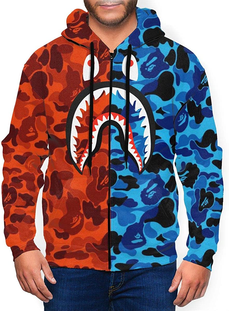 Bape Blood Shark Unisex Men's Zipper Hoodies Sweatshirt Long Sleeve Hoody Pullover Jackets